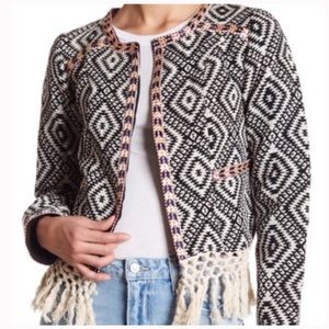 Embroidered jacquard jacket with fringe detail